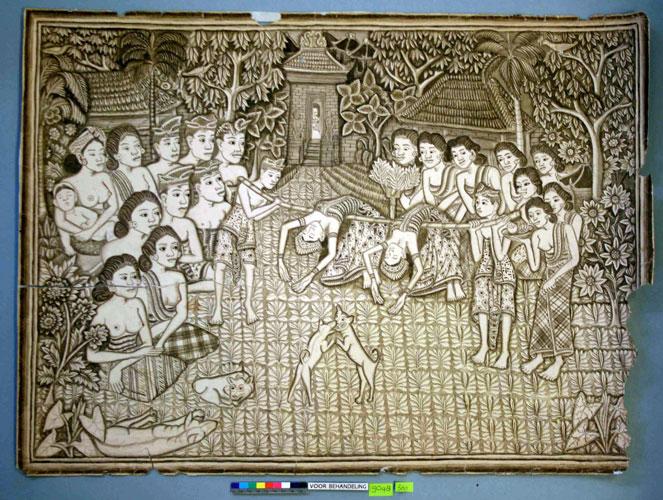 'dansende vrouwen' vóór restauratie