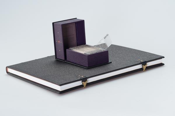 De gebonden scriptie en het doosje met segrijnmonsters. Foto: Theo de Nooij, Koninklijke Bibliotheek.